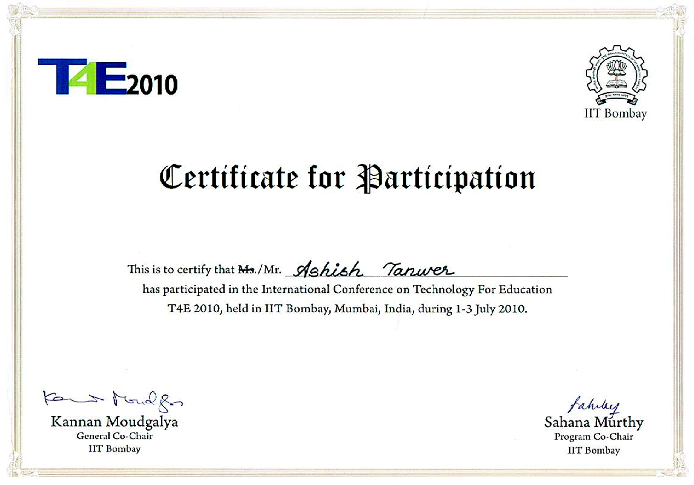 Ieee international conference on technology for education for International conference certificate templates